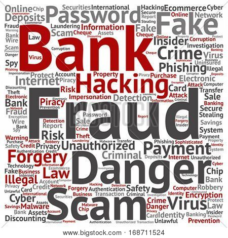 Vector concept or conceptual bank fraud payment scam danger square word cloud isolated on background metaphor to money analysis, business fund balance, estate, mortgage, safe refinance solution