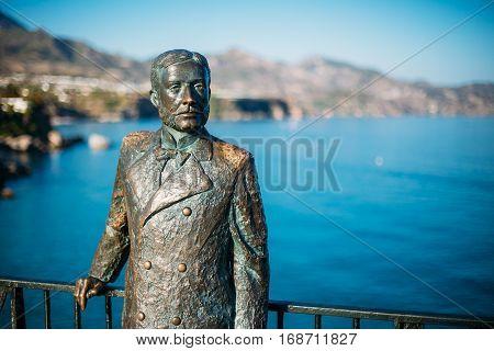 Nerja, Spain - June 20, 2015: Monument to King of Spain Alfonso XII 1857-1885 In Nerja Spain