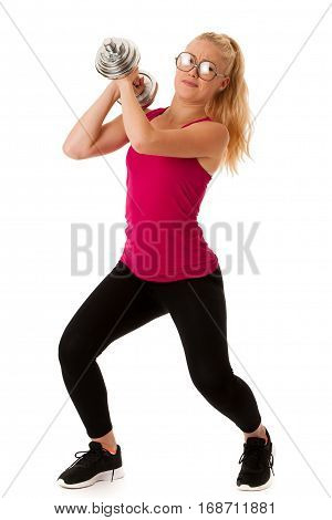 Fitnes - Blonde Young Woman Working Out With Dumbbells Isolated Over White