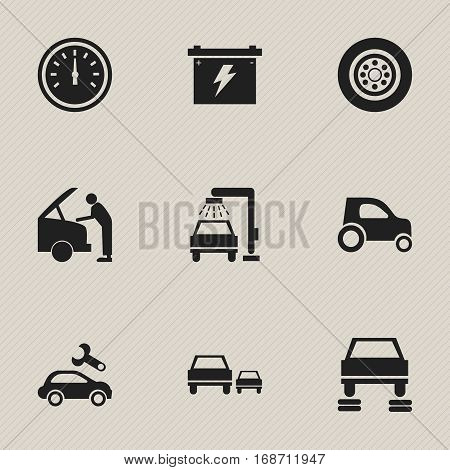 Set Of 9 Editable Vehicle Icons. Includes Symbols Such As Battery, Auto Repair, Vehicle Car And More. Can Be Used For Web, Mobile, UI And Infographic Design.