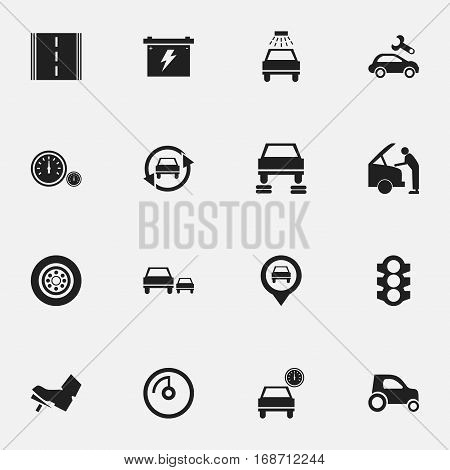 Set Of 16 Editable Car Icons. Includes Symbols Such As Race, Car Fixing, Vehicle Car And More. Can Be Used For Web, Mobile, UI And Infographic Design.