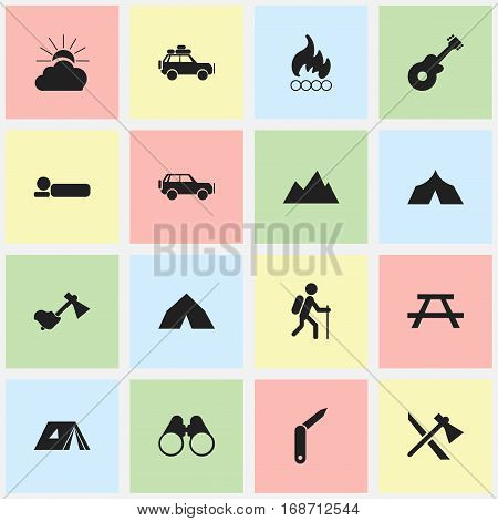 Set Of 16 Editable Travel Icons. Includes Symbols Such As Shelter, Tepee, Sport Vehicle And More. Can Be Used For Web, Mobile, UI And Infographic Design.