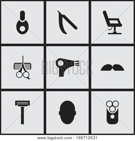 Set Of 9 Editable Barbershop Icons. Includes Symbols Such As Blade, Shaver, Whiskers And More. Can Be Used For Web, Mobile, UI And Infographic Design.