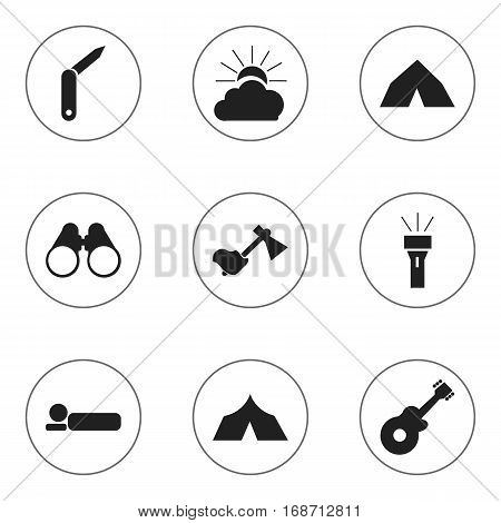 Set Of 9 Editable Trip Icons. Includes Symbols Such As Sunrise, Refuge, Bedroll And More. Can Be Used For Web, Mobile, UI And Infographic Design.