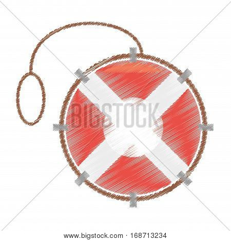 drawing life buoy rescue saver boat vector illustration eps 10
