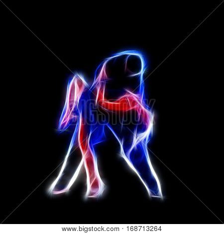 Dancing couple glowing silhouette computer generated abstract background 3D render isolated on black