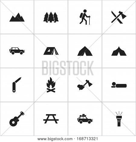 Set Of 16 Editable Camping Icons. Includes Symbols Such As Bedroll, Ax, Pine And More. Can Be Used For Web, Mobile, UI And Infographic Design.