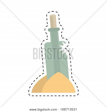 bottle with message letter water cut line vector illustration eps 10