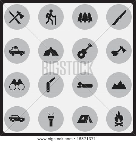 Set Of 16 Editable Trip Icons. Includes Symbols Such As Fever, Gait, Shelter And More. Can Be Used For Web, Mobile, UI And Infographic Design.