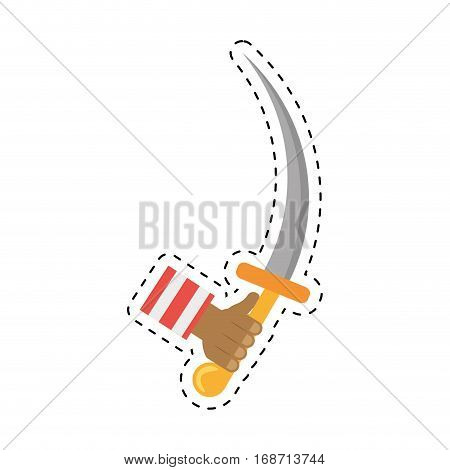 hand hold pirate saber steel cutlass cut line vector illustration eps 10