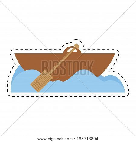 rowing wooden boat ocean sea cut line vector illustration eps 10