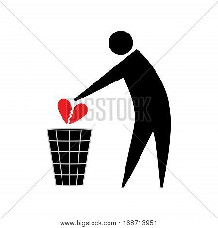 Broken heart. Unrequited love. Symbolic man throws in the trash a broken heart.
