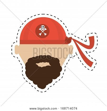 pirate red bandana corsair bones cut line vector illustration eps 10