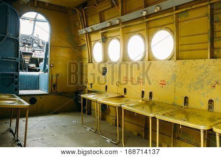 Cabin Of Old Soviet Plane Aircraft, Aeroplane, Airplane