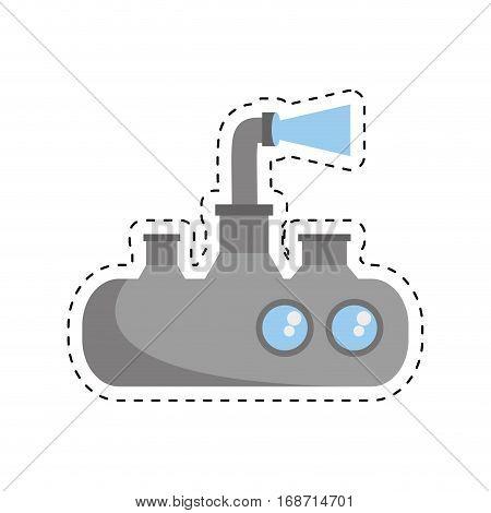 submarine periscope underwater ocean cut line vector illustration eps 10