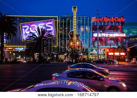 Las Vegas, Nevada, USA 2012.01.12 A night shot of the Hard Rock Cafe taken on the Las Vegas Strip