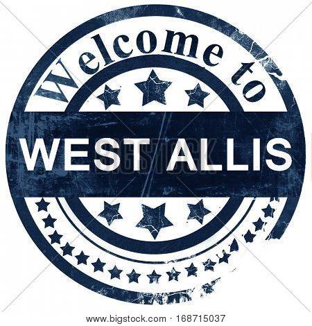 west allis stamp on white background