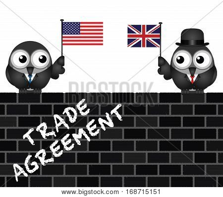 Representation of USA UK transatlantic trade agreement negotiations perched on Brickwall