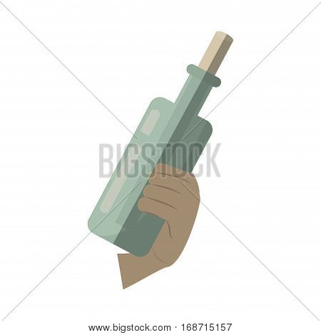 hand holding bottle with message letter water shadow vector illustration eps 10
