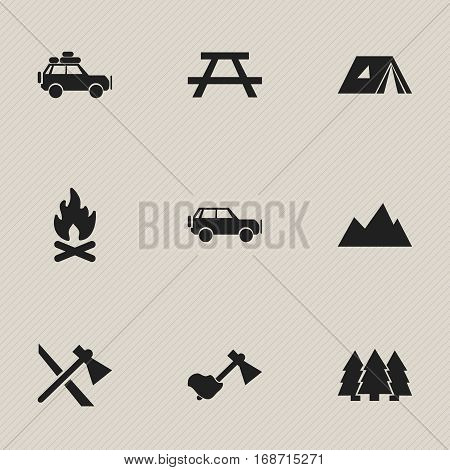 Set Of 9 Editable Camping Icons. Includes Symbols Such As Shelter, Sport Vehicle, Ax And More. Can Be Used For Web, Mobile, UI And Infographic Design.