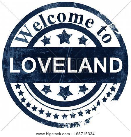 loveland stamp on white background