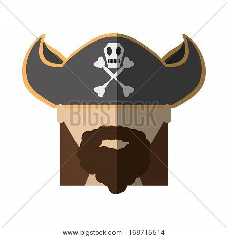 face pirate bearded hat skull bone long hair shadow vector illustration eps 10