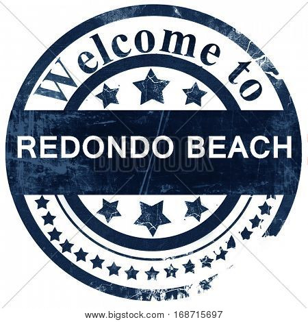 redondo beach stamp on white background