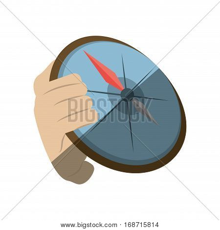 hand holding compass direction travel maritime shadow vector illustration eps 10