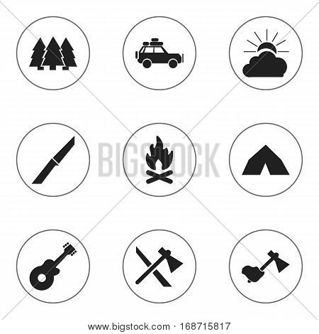 Set Of 9 Editable Travel Icons. Includes Symbols Such As Voyage Car, Musical Instrument, Knife And More. Can Be Used For Web, Mobile, UI And Infographic Design.