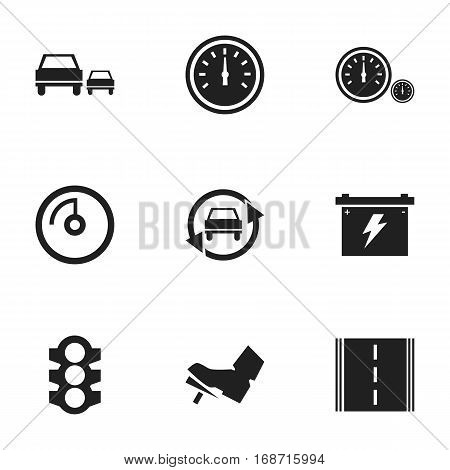 Set Of 9 Editable Car Icons. Includes Symbols Such As Speedometer, Stoplight, Race And More. Can Be Used For Web, Mobile, UI And Infographic Design.