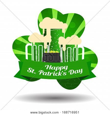 Vector Happy St. Patrick's Day poster on the gradient dark green background with rays goblets of beer stripe and cauldron with coins.