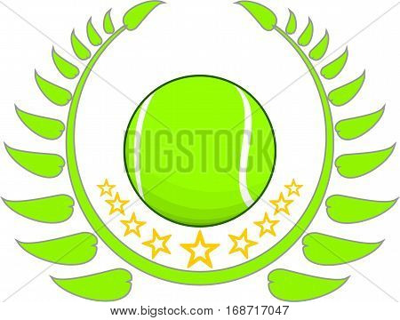 tennis ball with stars and a sprig around