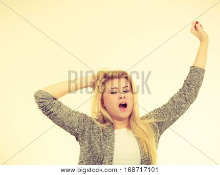 Tired Blonde Woman Yawning, She Needs Sleep