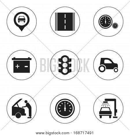 Set Of 9 Editable Car Icons. Includes Symbols Such As Stoplight, Pointer, Highway And More. Can Be Used For Web, Mobile, UI And Infographic Design.