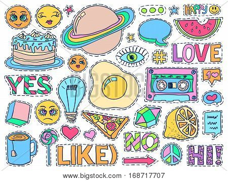 Patch Badges Set College Doodles Social Media Colorful 3