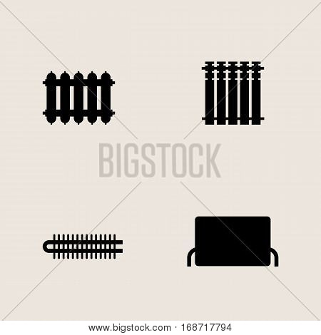 Vector monochrome icon set central heating batteries