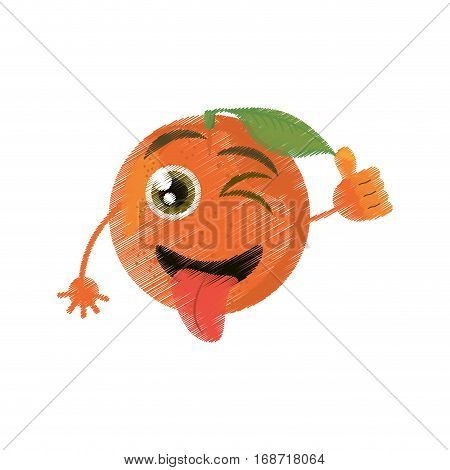 tomato expressions silly face icon, vector illustration