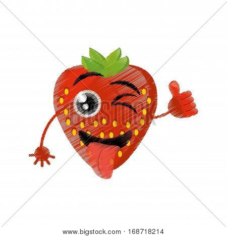 strawberry expressions silly face icon, vector illustration