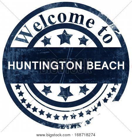 huntington beach stamp on white background