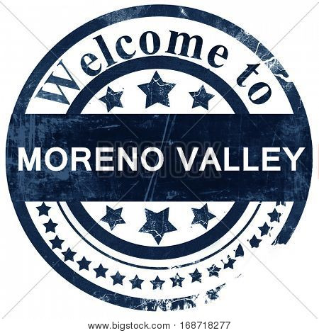 moreno valley stamp on white background
