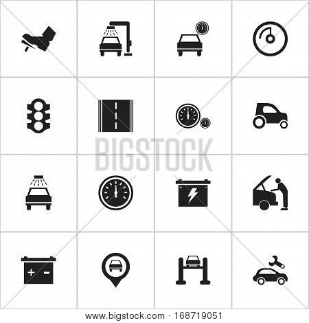 Set Of 16 Editable Vehicle Icons. Includes Symbols Such As Battery, Stoplight, Speedometer And More. Can Be Used For Web, Mobile, UI And Infographic Design.