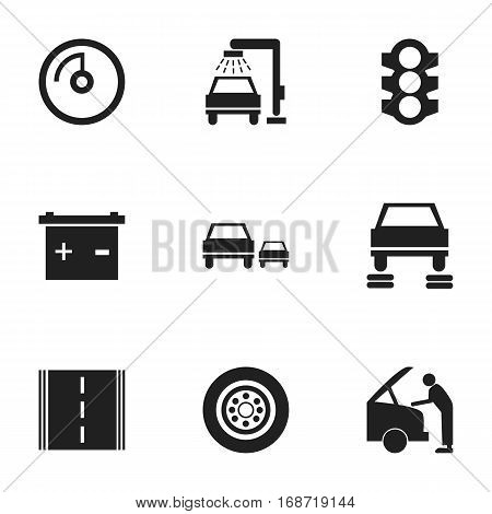 Set Of 9 Editable Car Icons. Includes Symbols Such As Car Fixing, Stoplight, Race And More. Can Be Used For Web, Mobile, UI And Infographic Design.