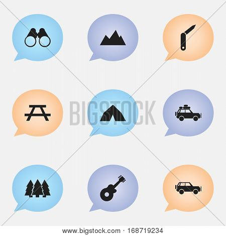 Set Of 9 Editable Trip Icons. Includes Symbols Such As Tepee, Field Glasses, Voyage Car And More. Can Be Used For Web, Mobile, UI And Infographic Design.