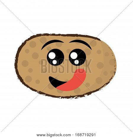 potato expressions hungry face icon, vector illustration
