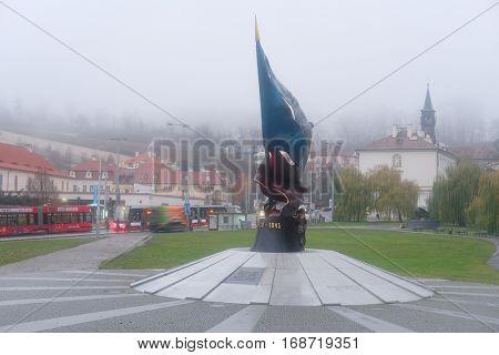 Prague, Czechia - November, 21, 2016: monument of sacrifices of Second World War in a center of Prague, Czechia