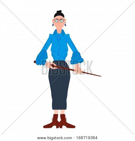 Vector illustration of cartoon angry teacher in a blue blouse with a pointer