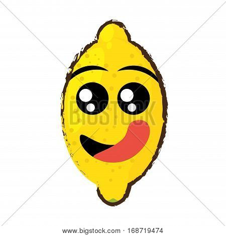 lemon expressions hungry face icon, vector illustration