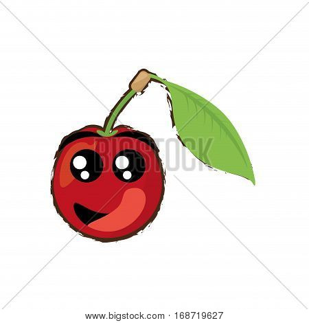 cherry expressions hungry face icon, vector illustration