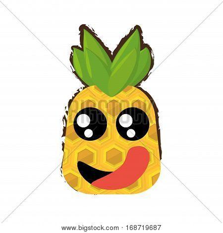 pineapple expressions hungry face icon, vector illustration