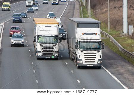 London UK - February 4 2017: Traffic on the British motorway M1 junction to motorway M25